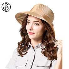2017 Summer Organza Hat Large Brim Beach Cap With Bow Straw Hat Elegant Sun Hats For Women With Big Heads Pink Black Khaki Brown