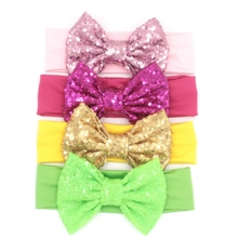 "Retail 1PC Chic European Kids Girl 5"" Big Sequin Hair Bow headband Wholesale Elastic Headwrap For Kids 2017 New Hair Accessories(China)"