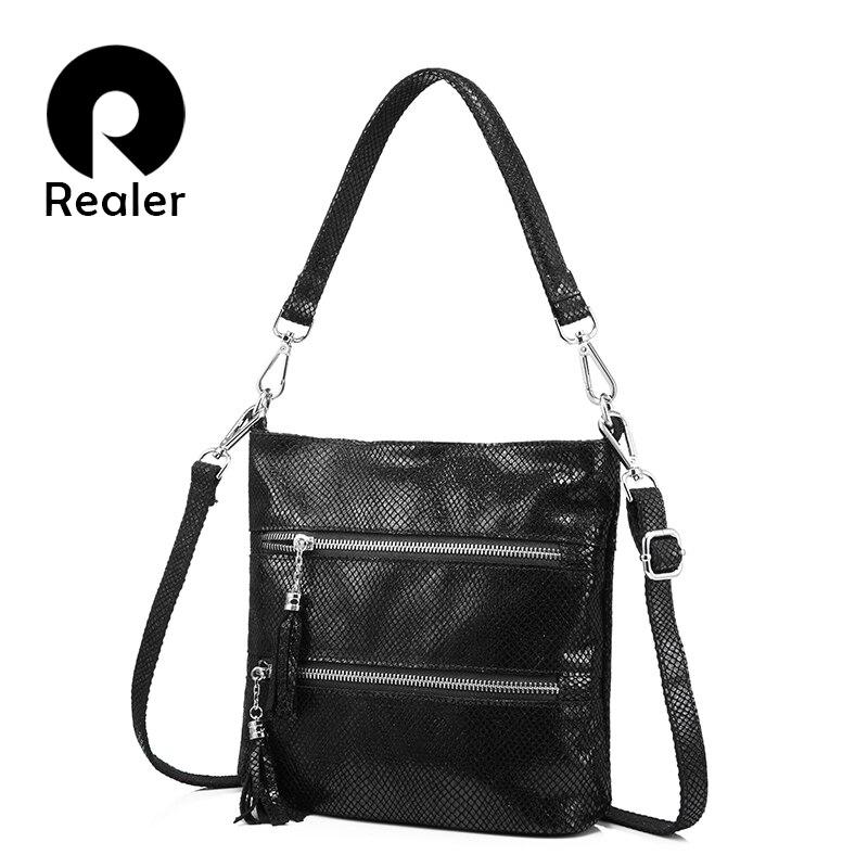 REALER genuine leather bags for women handbags female shoulder crossbody bags tassels multi-layer zipper messenger student bags<br>