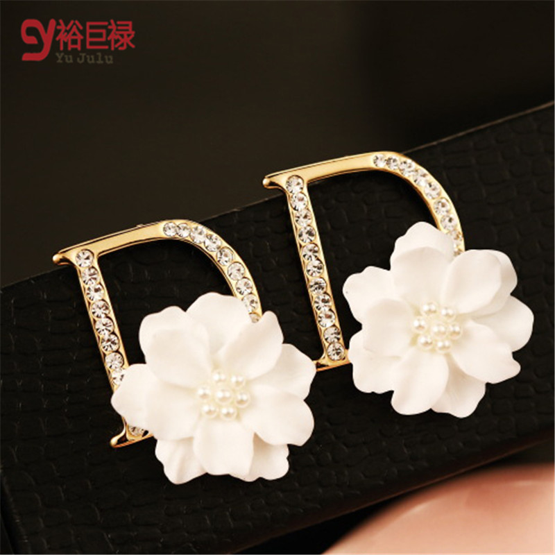 2019 D Earrings For Women Luxury High Brand Simulated Flower Earrings Gold Color Hot title=