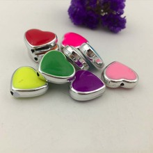 30pcs) 8 colors Candy Color pink Enamel hole Hearts All MY Love Dangle Charms 1.55X1.7X0.6cm pendant fit for fashion Jewelry DIY
