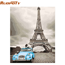 RUOPOTY 40x50cm DIY Painting By Numbers Paris Kiss Modern Nordic Style Wall Art Picture Handpainted Oil Painting For Home Decor(China)