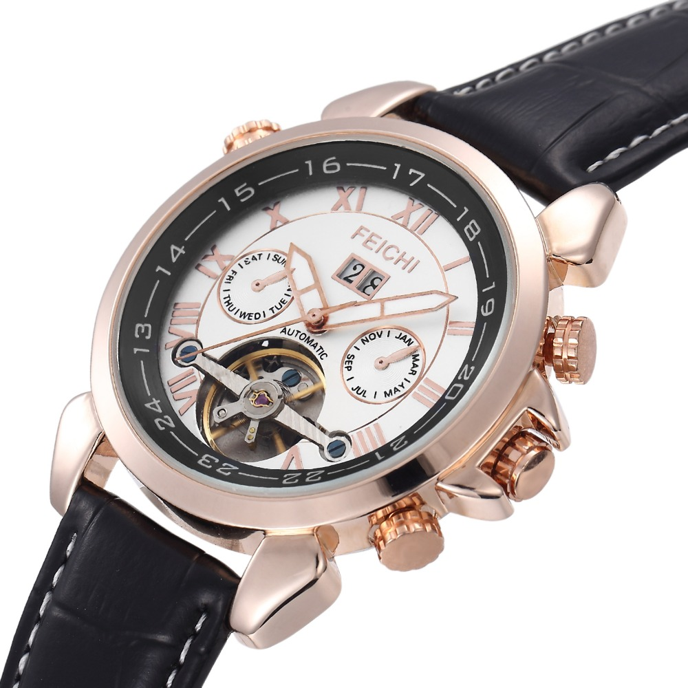 Mens Stainless Steel Mechanical Hand Wind Skeleton Sport Wrist Watch Business Wristwatches<br>