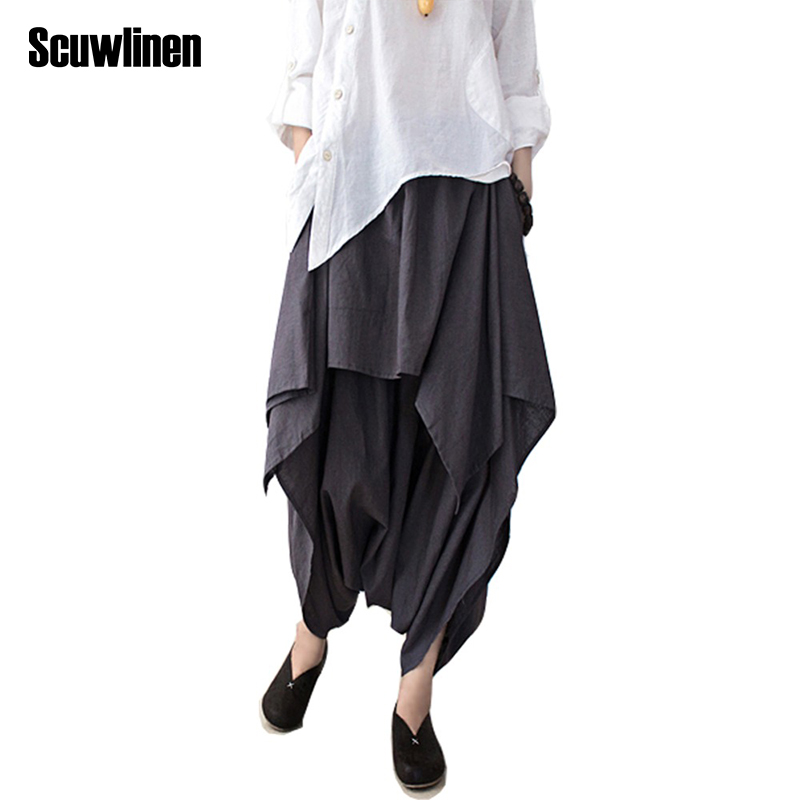 SCUWLINEN 2018 Women Pants Cotton Linen Ruffled Harem Pants Women Pantalon Femme Trouser Women Camouflage Casual