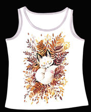 Track Ship+Vintage Vest Tanks Tank Tops Camis Cartoon Quiet Tattoo White Fox Sleeping in Bush Brushwood Tree 0591(Hong Kong)