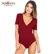SEBOWEL 2018 solid color Plunge Bodysuit Women Daring Deep v Neck Sexy Bodysuit Women Top Jumpsuit Romper onesie body feminino(China)