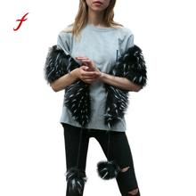 New Ladies Scarf Womens Scarf Scarves Warm Faux Fur Shawl Winter Parka Wrap Scarf Black Gray Hair Ball Collar(China)