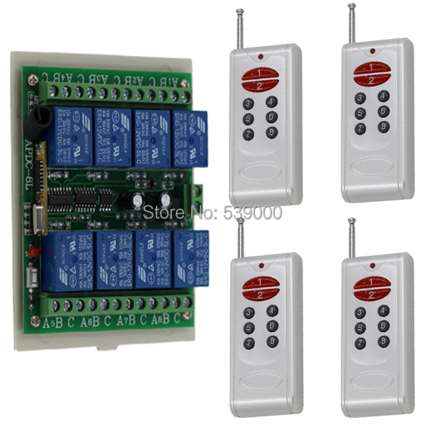 4 Remote+1 Receiver DC 12V 7A Relay Receiver 8CH Wireless RF Remote Control Switch Free shipping<br>