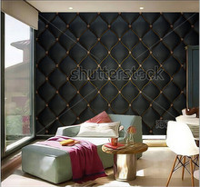 Custom 3D murals,Black Buttoned luxury leather pattern with diamonds and gemstones ,living room sofa TV wall bedroom wall paper