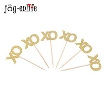 JOY-ENLIFE 24pcs Gillter XO letter Cupcake topper for wedding Cake accessories Hen Night bachelorette party Supplies