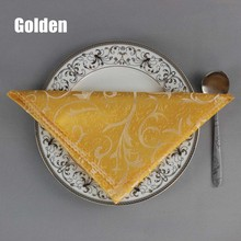 "10pcs/lot Hotel Banquet Luxury Gold Leaf Polyester Table Napkin Restaurant 19"" Square Folding Cloth Party Decoration Home Decor"