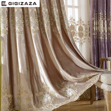 Luxury velvet embroidery curtains heavy fabric window curtain ivory color black out blinds for bedroom living light shading(China)