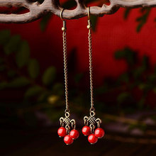 Chinese folk style jewelry earrings wholesale ladies Palace film and television star temperament retro long earrings YC216