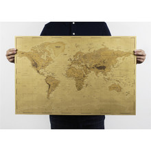 world Map poster Nostalgic vintage Kraft paper posters coffee decoration poster wall art craft decoration 72x47cm ON035