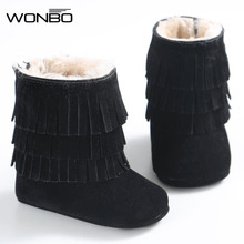 2017 Winter 3 Layer Tassels Baby Moccasins Fleece Suede Leather Fringed Boots Infant Toddler Soft Bottom Thick Cotton Boots