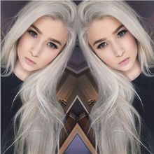 Silver Long Silky Straight Hair For Women Synthetic Lace Front Wig Heat Resistant Fiber Hair Fashion Wig For Free Shipping