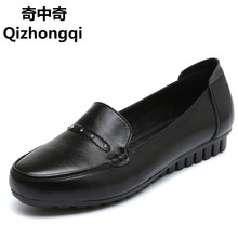 2017 spring new flat genuine leather women shoes soft soles comfortable Peas shoes puls size35-42 # mother pregnant women shoes