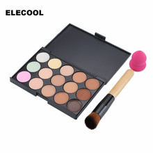 ELECOOL 15 Colors Contour Face Cream Makeup Concealer Palette with Makeup Sponge Brush Top Quality Women Cosmetics 3 IN 1 Kit(China)