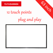 63 inches infrared frame touch screen 6, 10, 12 points touch ir touch sensor frame interactive overlay kit(China)