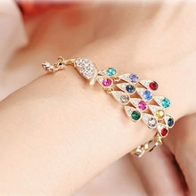 Linnor New Fashion Charm Gold Alloy Colorful Peacock Bracelet Mujer Rainbow Bangles Crystal Jewelry Braclet for Women Gift