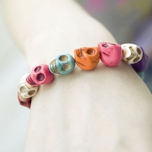 Japan and South Korea jewelry wholesale influx of people must Uptown Girl darling color skull stretch bracelet(China)