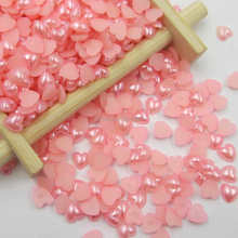 8mm Pink Color 2000pcs/bag Loose Imitation Pearl Flatback Beads Half Round Heart Pearls For DIY Craft Decor Wedding Dress