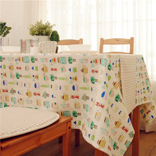 1Pcs Kitchen Tablecloth Cotton Linen Blend Table Cover Square Table Cloth Accept Customize Cute Cartoon Caster Printed(China)