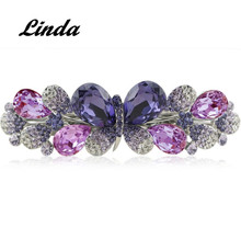 Hand-made Violet Flower Crystal Barrettes Sweet Grand Barrette Hair Clip Rhinestone Embellished Fashion Barrette RY004(China)