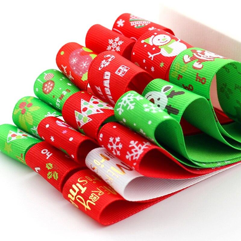 5meter/lot 25mm Christmas Wrap Ribbon Ribbed Belt Gift red ribbon Handmade DIY Decorative Snowflakes Tree Red Green Ribbon T-011