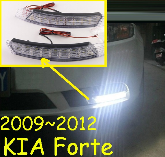Car-styling,KlA Forte daytime light,2009~2012/2014~2017,chrome,LED,Free ship!2pcs,KlA Forte fog light,car-covers,Forte,cerato<br>