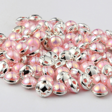 2017 Shinning 4 holes 100pieces/lot Silver/Gold Pink Pearl 8MM Buttons for DIY Handmaking Decoration Garment Accessories