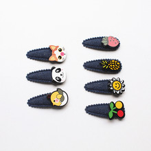 70pc Cowboy Navy Blue Kid Hair Clip Mini Size Cute Girls Hairpins with Mini Animals Fruit Charms Accessory Cat Head Panda Cherry(China)