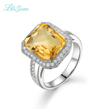 Genuine 925 Sterling Silver Hot  Sale Natural Citrine Yellow Luxury Models Square Cluster Prong Setting  RingsClassic Love Rings