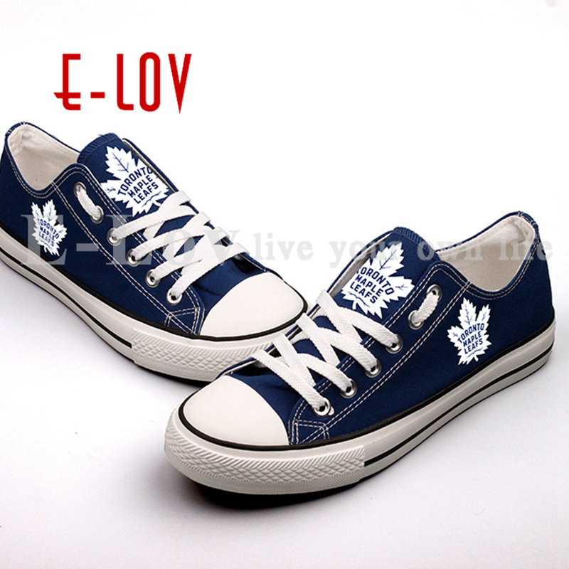 New Hot Sale Blue Canvas Shoes Toronto Maple Leafs Fans Order Shoes Fashion Print Low Top Lace Shoes Free Shipping<br>