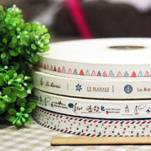 Navy style 4 designs mixed 8meter/lot handmade cotton printed ribbons sewing label 1.5cm wholesale Free shipping