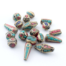 Mix 20pc/lot Retro Prayer tibet silver Beads Nepal Beads Red Coral Inlay Copper Tibetan Charms(China)
