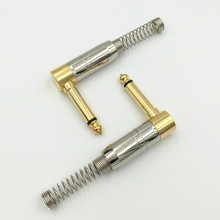 20Pcs 90 Degree Angel 6.35mm Mono Audio Plug Jack Amplifier Microphone DIY Plug King Protection Device with Spring