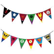 2M Letter Strip Paper Flags Cartoon Character Happy Birthday Banners Children Kids Birthday Party  Decoration 6 Style Optional