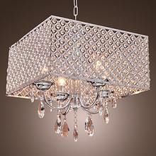 LED Modern Crystal Pendant lights Lamp with Crystal Drops in Square , Lustre De Cristal e Pendentes(China)