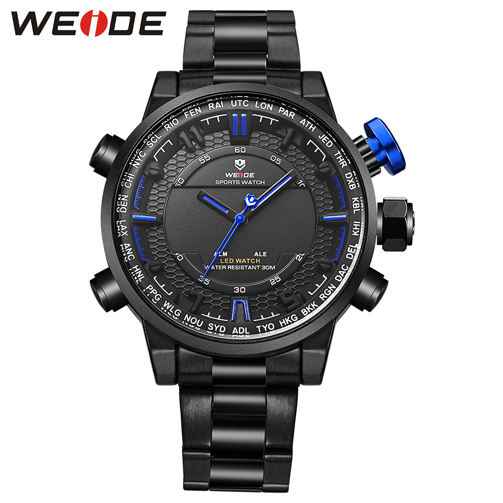 Electroplating 3D WEIDE 2017 New Casual Watches Mens Waterproof Quartz Watch Army Military Sport  Wristwatch Relogio Masculino <br>