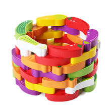 Chanycore Baby Learning Educational Wooden Toys Blocks Jenga Vegetables 54pcs qzm Domino Geometric Shape Kids Gifts 4154