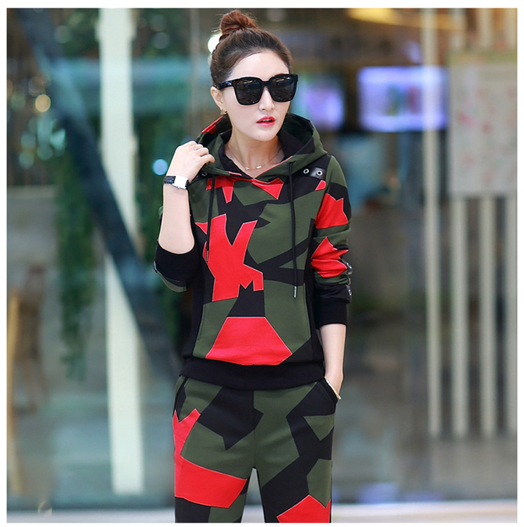 17 Women 2 Two Piece Set Camouflage Sporting Suit Femme Hoodies Sweatshirt Top And Pants Sweatsuit Set Casual Runway Tracksuit 3