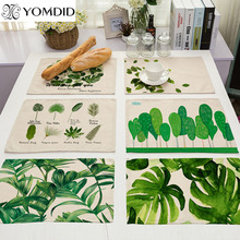 Green Leaves Dining Table Mat Cotton Linen table Pad Placemat Bowls Coasters Kitchen Accessories cactus Tropical plants pattern