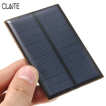 CLAITE 5.5V 0.66W Monocrystalline  Solar Panel 120mAh Mini Silicon Solar Cells DIY Epoxy Plate Module Battery Phone Charger