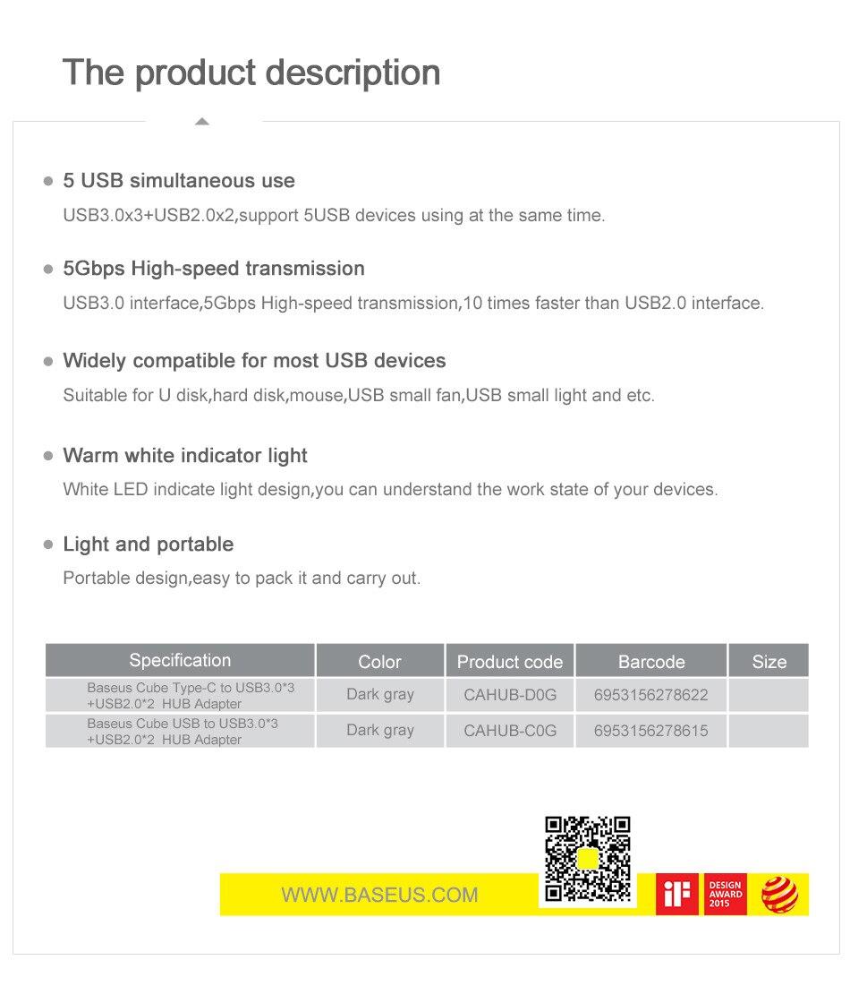 Baseus 5 Ports USB C HUB to USB 3.0 OTG USB HUB Splitter High Speed 5Gbps For Macbook Computer Laptop Type C HUB USB 2.0 Adapter 17