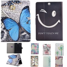 "Tablet  Case For Samsung Galaxy Tab A 8.0"" SM-T355 /T350 Case Smile Face Slim Lightweight PU Leather Cartoon Stand Flip Card Bag"