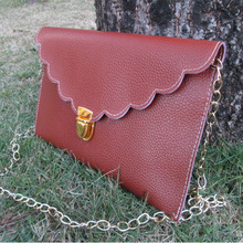 Blanks DOMIL ready in sotck Scalloped PU clutch envelop purse with 14 colors available DOM120(China)