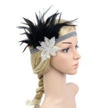 Vintage 1920s Great Gatsby Flapper Headband Feather Star Shape Headpiece Beaded Sequined Hairband
