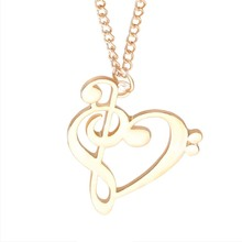 Minimalist Simple Fashion Hollow Love Heart Shaped Musical Note Pendant Necklace Music Jewelry Gold Silver Special Gift