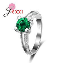JEXXI Elegant Female Wedding Accessories Finger Jewelry 925 Sterling Silver Ring for Women Anillo Bijoux With Green CZ